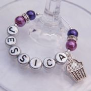 Cupcake Personalised Wine Glass Charm - Elegance Style